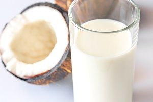 Glass of coconut milk