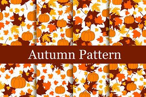Autumn Set of seamless patterns