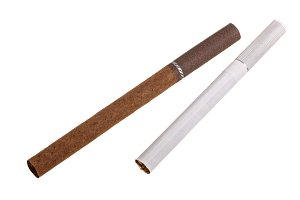 The brown and white cigarette