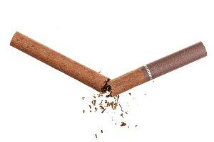 Broken cigarette isolated on white