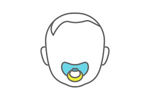 Baby face with pacifier color icon