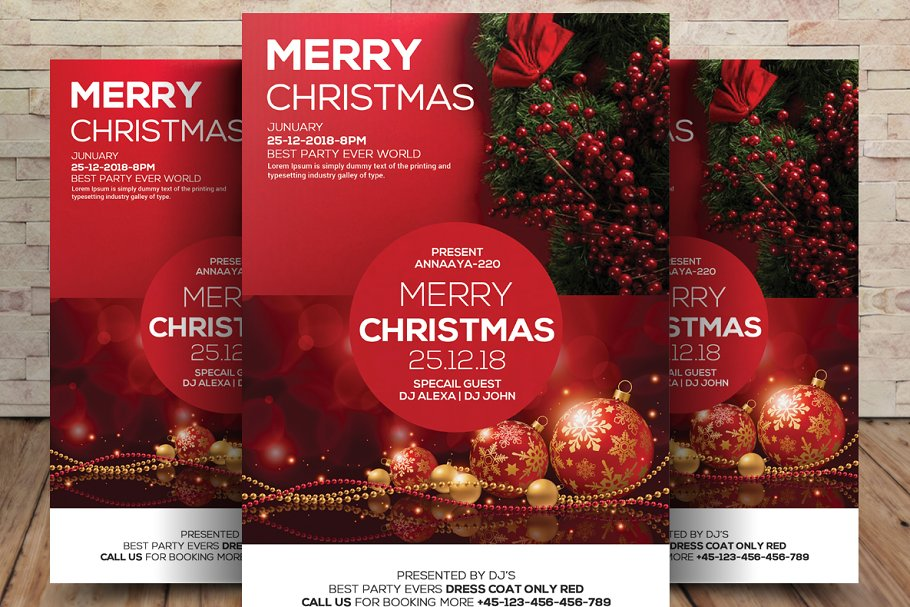 Christmas Party Flyer Template.Merry Christmas Party Flyer