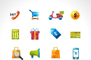 E-commerce online polygonal icons