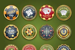 Royal casino poker glossy labels set