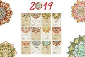 2019 New Year Calendar Mandala Style