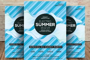 Electro Summer Psd Flyer Template
