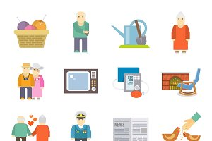 Pensioners life style flat icons set
