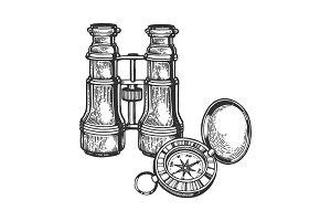 Binoculars and compass engraving
