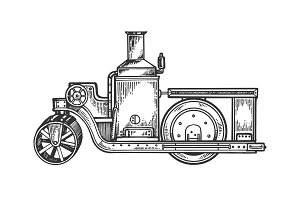 Steam engine road roller tractor