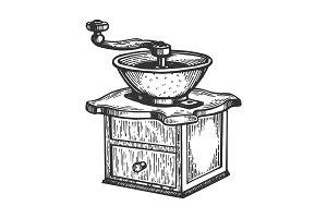 Coffee grinder engraving vector