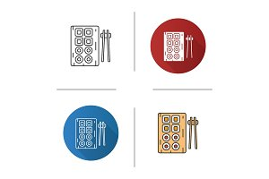 Sushi and chopsticks icon