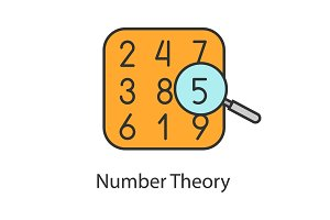Number theory color icon