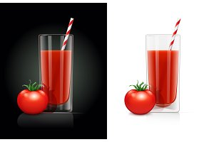 Fresh tomato juice glass with pipe