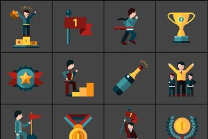 Success flat icons set