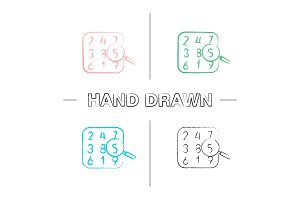 Number theory hand drawn icons set