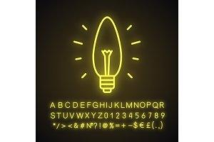 Glowing light bulb neon light icon