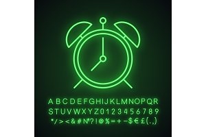 Alarm clock neon light icon