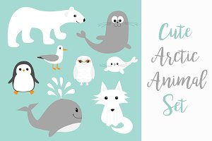 Arctic polar animal set.