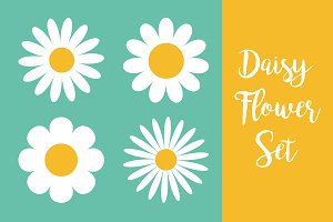 Camomile icon set. White daisy
