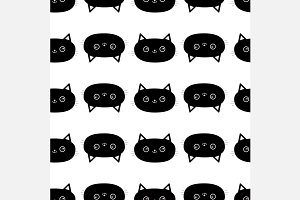 Black cat Seamless Pattern set.