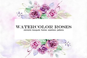 Watercolor roses. Set.