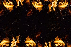 brightly burning orange flames