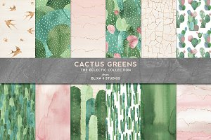 Cactus Greens Watercolor Graphics