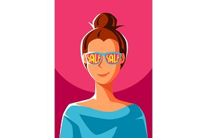 Cute girl in sunglasses with sale.
