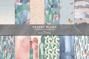 Desert Blues Cactus Watercolors