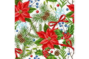 Seamless pattern with winter plants.
