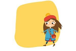 cartoon girl walking in autumn coat