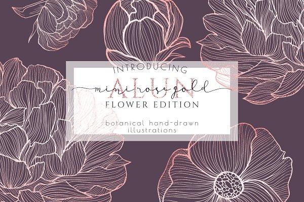 Rose gold flower lines illustration