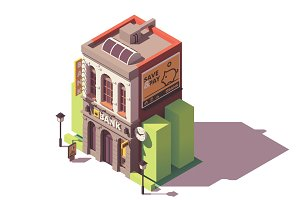 Vector isometric old bank building