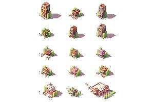 Vector isometric restaurants types