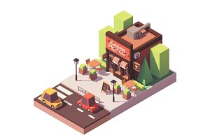 Vector isometric pizzeria building