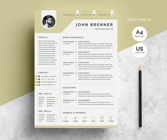 minimal resume template 2 pages resume templates creative market