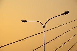 Light pole and rope bridge