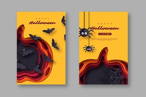 Halloween holiday posters. Paper cut