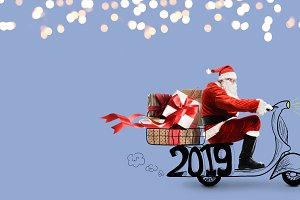 Santa Claus on scooter