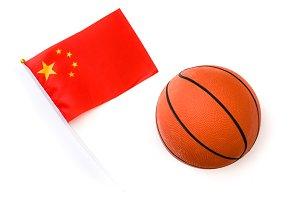 Basketball and Chinese flag