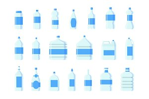 Plastic water bottle vector blank