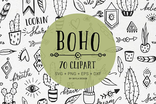 Boho cactus feather arrow clipart