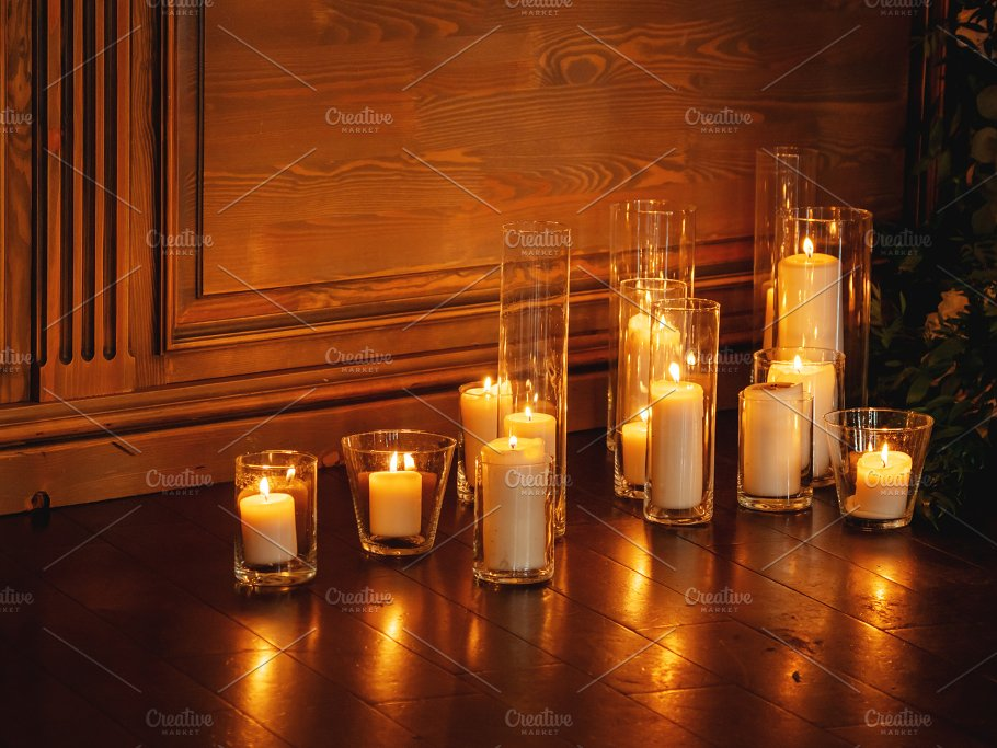 Burning Candles In Transparent Vases Beauty Fashion Photos