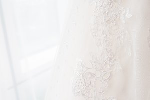 Bride's dress with embroidery