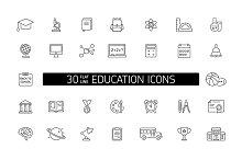 Education Line Icons Set