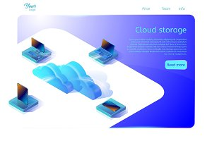 Cloud data storage web page template