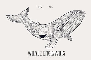 sea and whale.  style engraving