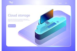Cloud data storage concept. Web page