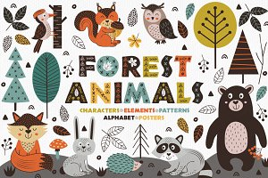 forest animals in Scandinavian style