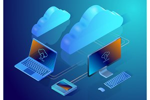 Cloud data storage. Isometric vector